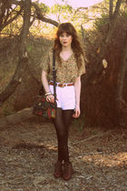 white shorts - blouse - brown boots - - belt