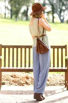 dark brown lace up Zara wedges - brown akubra asos hat - dark brown vintage bag