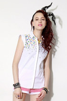 embroidery sleeveless shirts