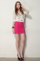 hot pink storets skirt - white storets blouse