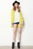yellow storets cardigan - black felt fedora hat storets hat