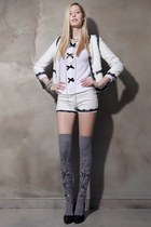black storets pumps - white storets coat - white storets shorts