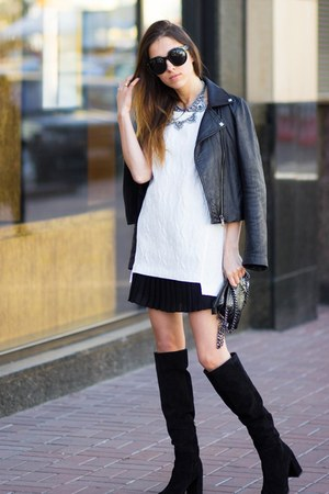 Zara boots - Zara bag - Mango skirt - Zara necklace