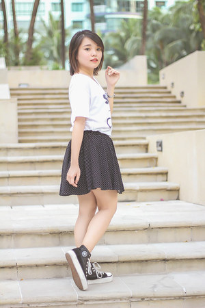 dark gray 17 Club skirt - white DIY shirt - dark gray Sneakers Avenue sneakers