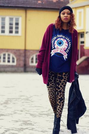 H&M cardigan - Jeffrey Campbell shoes - H&M leggings - chicnova t-shirt