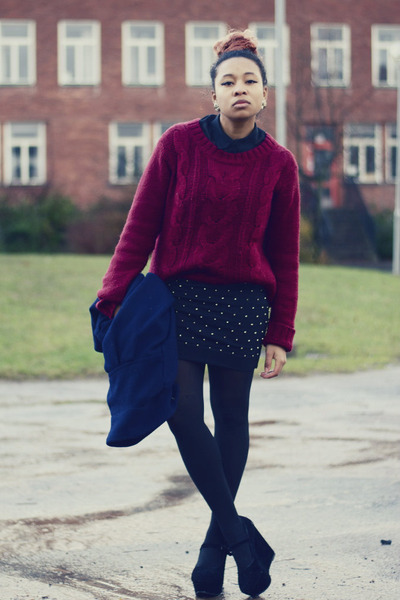 crimson GINA TRICOT sweater - black Nelly wedges