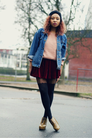 crimson velvet chicnova skirt - navy thrifted vintage jacket