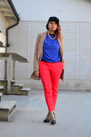 red H&M pants - black GinaTricot hat - camel H&M jacket - blue OASAP shirt