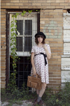 white vintage dress dress - black bowler hat hat - dark khaki satchel bag purse