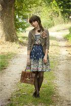 brown vintage vintage blazer - black black oxfords shoes