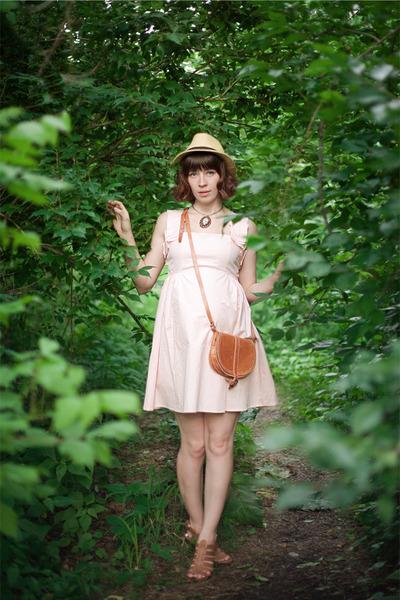 light pink pink sleeveless threadcase dress - mustard fedora straw hat - tawny b