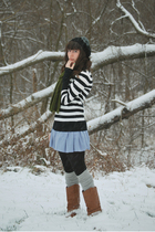 black Target shirt - blue BB Dakota dress - gray stockings - black hat - brown b