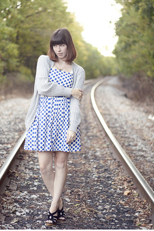 blue polka dot dress dress - heather gray cardigan - black strappy sandals heels