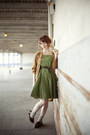 Olive-green-dress-burnt-orange-romwe-cardigan-dark-brown-oxfords-flats