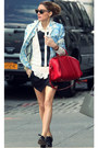 White-soft-sweater-blue-floral-blazer-camel-cat-eye-tortoise-sunglasses