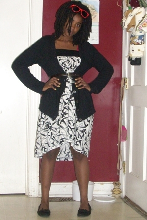 gift jacket - thrifted dress - American Eagle for Payless shoes - Target sunglas