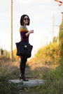 Dark-brown-leather-nine-west-boots-maroon-sweater-loft-dress