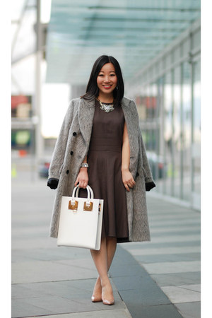dark brown a-line MM Lafleur dress - charcoal gray mohair defect coat