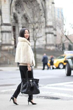 black leather Paige Denim leggings - beige cashmere JCrew sweater