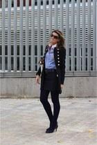 navy Zara coat - navy Marypaz shoes - bronze Aldo purse - navy Zara skirt