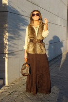 dark brown Zara skirt - dark brown Louis Vuitton purse