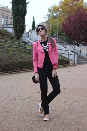 black Uniqlo jeans - bubble gum H&M jacket - black Primark purse