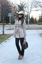 tan trench Zara coat - black Uniqlo jeans - tan H&M hat