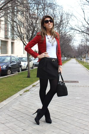 red Zara jacket - black liz claiborne purse - light pink Zara necklace