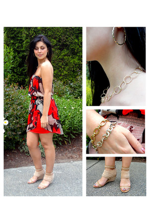 red Guess dress - nude DKNY sandals - gold Charlotte Russe earrings