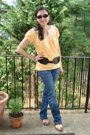 orange Anthropologie shirt - black Anthropologie belt - Diesel jeans