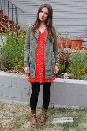 red floral madewell dress - dark brown Jeffrey Campbell boots