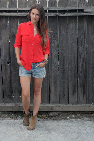 red silk Equipment blouse - camel Frye boots - light blue J Brand shorts