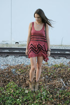maroon free people dress - camel Frye boots - navy J Brand shorts