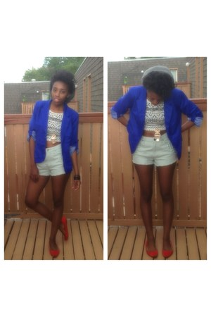 blue Forever 21 blazer - aquamarine BDG shorts - orange thrifted flats