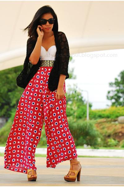 wide legged F-STOP  Fashion Stop pants - camel wooden platform figliarina heels