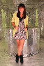 Black-sm-parisian-boots-floral-sm-dept-store-dress-yellow-thrifted-blazer