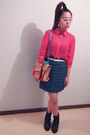 Black-rubi-boots-gmarket-bag-hot-pink-supre-blouse-blue-skirt