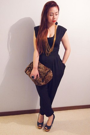 Sportsgirl earrings - leopard DIY bag - navy asos heels - diva necklace