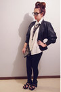 Black-thrifted-jacket-black-supre-leggings-bag-white-blouse