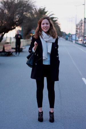 black lace Dolce & Gabbana boots - navy vintage coat - cream Zara scarf