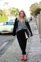 black Zara blazer - black Zara bag - black Zara blouse - red Zara heels