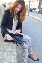 black Zara jacket - off white Zara shirt - black Zara bag