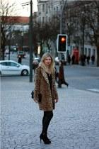 leopard Mango coat - Zara boots - leather Zara pants - Mango blouse