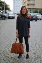 gray Zara sweater - black leather H&M leggings - tawny Yves Saint Laurent bag