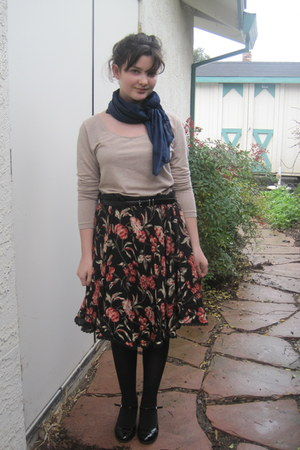 navy vintage scarf - tan H&M shirt - black Target belt - brick red moms skirt -