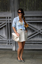 light blue Forever21 shirt - ivory kate spade bag - silver Urban Outfitters flat