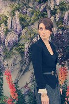 Aqua blazer - vintage flats - Emma & Sam skirt - JCrew top - Gold & Citrus earri