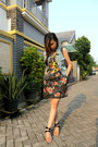 Flowers-forever-21-dress-studded-bag-jeans-vest
