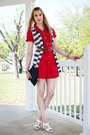 Red-shirtdress-self-made-dress-white-trench-joes-jeans-jacket-navy-denim-clu