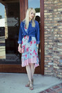Sky-blue-floral-print-express-dress-blue-denim-thrifted-shirt